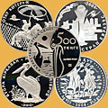 Монеты 500 теньге Казахстана. Монеты из серебра