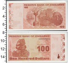 Изображение Банкноты Зимбабве 100 долларов 2009  UNC-