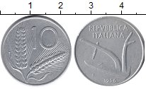 Изображение Монеты Италия 10 лир 1956 Алюминий VF