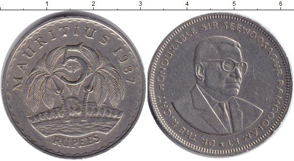 Картинка Мелочь Маврикий 5 рупий Медно-никель 1987