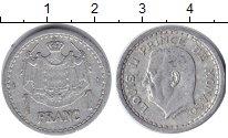 Изображение Монеты Монако 1 франк 1943 Алюминий VF Принц Монако Луи II