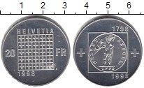 Изображение Монеты Швейцария 20 франков 1998 Серебро Proof- 150 лет Конфедерации
