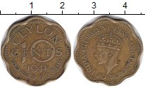 Изображение Монеты Цейлон 10 центов 1944  XF Георг VI