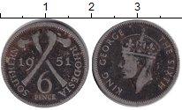 Изображение Монеты Родезия 6 пенсов 1951 Медно-никель VF