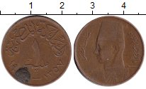 Изображение Монеты Египет 1 миллим 1357 Медь VF Фарук I