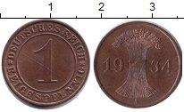 Изображение Монеты Веймарская республика 1 пфенниг 1934 Медь XF А