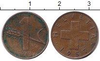 Изображение Монеты Швейцария 1 рапп 1957 Медь VF