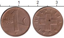 Изображение Монеты Швейцария 1 рапп 1949 Медь VF