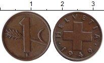 Изображение Монеты Швейцария 1 рапп 1949 Медь XF