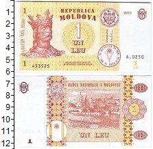 Изображение Банкноты Молдавия 1 лей 2015  UNC- Стефан Маре. Новый т