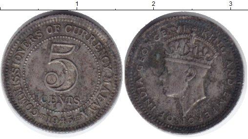 Картинка Монеты Малайя 5 центов Медно-никель 1945