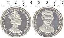 Изображение Монеты Остров Вознесения 50 пенсов 2006 Серебро Proof 80 лет Елизавете II