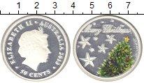 Изображение Монеты Австралия 50 центов 2013 Серебро Proof Рождество.Ёлка (эмал