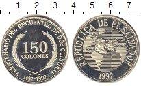 Изображение Монеты Сальвадор 150 колон 1992 Серебро UNC Открытие Америки.Кор