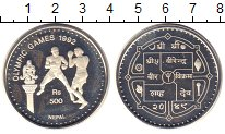 Изображение Монеты Непал 500 рупий 1992 Серебро Proof Олимпийсие игры в Ба