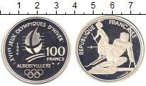 Изображение Монеты Франция 100 франков 1990 Серебро Proof Олимпиада в Альберви