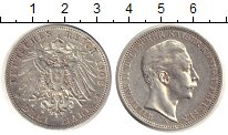 Монета Пруссия 3 марки Серебро 1908 XF фото