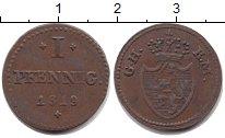 Изображение Монеты Гессен-Дармштадт 1 пфенниг 1819 Медь VF тип G.H.-K.M.