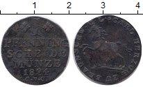 Изображение Монеты Брауншвайг-Вольфенбюттель 1 пфенниг 1824 Медь VF РЕДКИЙ ТИП  КМ #1107