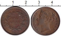 Изображение Монеты Стрейтс-Сеттльмент 1/2 цента 1845 Медь XF