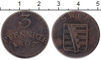 Изображение Монеты Саксен-Веймар-Эйзенах 3 пфеннига 1807 Медь VF