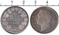 Изображение Монеты Вюртемберг 1/2 гульдена 1861 Серебро UNC-