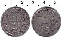 Изображение Монеты Швейцария 2 франка 1863 Серебро VF В