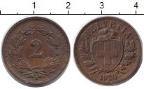 Изображение Монеты Швейцария 2 раппа 1920 Медь XF В