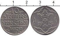 Изображение Монеты Данциг 10 пфеннигов 1923 Медно-никель XF Разновидность штемпе