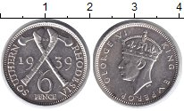 Изображение Монеты Родезия 6 пенсов 1939 Серебро XF Георг VI