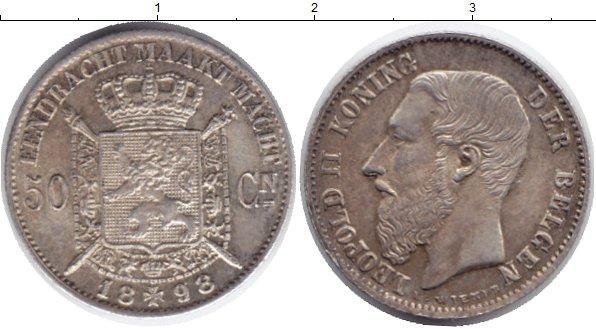 Картинка Монеты Бельгия 50 сентим Серебро 1898
