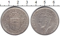 Изображение Монеты Родезия 1/2 кроны 1940 Серебро VF Герб Южной Родезии -