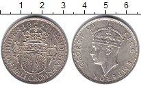 Изображение Монеты Родезия 1/2 кроны 1942 Серебро XF Герб Южной Родезии -