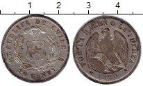 Изображение Монеты Чили 20 сентаво 1870 Серебро XF `Республика Чили — г