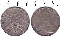 Изображение Монеты Саксония 3 марки 1913 Серебро XF Памятник Битвы народ