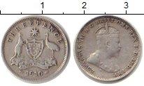 Изображение Монеты Австралия 3 пенса 1910 Серебро VF Эдвард VII