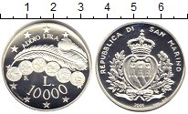 Изображение Монеты Сан-Марино 10000 лир 2001 Серебро Proof- Прощай лира