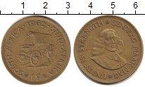 Изображение Монеты ЮАР 1 цент 1962 Медь XF `Повозка буров - вок