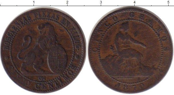 Картинка Монеты Испания 5 сентим Медь 1870