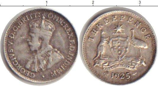 Картинка Монеты Австралия 3 пенса Серебро 1925