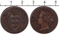 Изображение Монеты Остров Джерси 1/24 шиллинга 1877 Медь VF Виктория (Хитон)