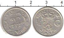Изображение Монеты Нидерландская Индия 1/4 гульдена 1938 Серебро XF
