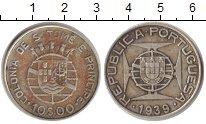 Изображение Монеты Сан-Томе и Принсипи 10 эскудо 1939 Серебро VF Португальская колони