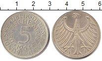 Изображение Монеты ФРГ 5 марок 1964 Серебро XF Федеративная Республ