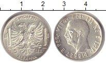 Изображение Монеты Албания 5 лек 1939 Серебро XF Итальянская оккупаци