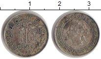 Изображение Монеты Цейлон 10 центов 1893 Серебро VF Королева Виктория.