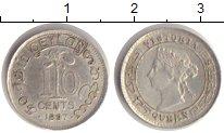 Изображение Монеты Цейлон 10 центов 1897 Серебро XF Королева Виктория.