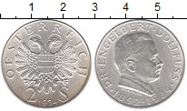 Изображение Мелочь Австрия 2 шиллинга 1934 Серебро XF Доктор Энгельберт До