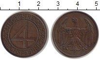 Изображение Монеты Веймарская республика 4 пфеннига 1932 Медь XF Е