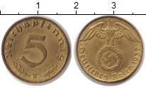 Изображение Монеты Третий Рейх 5 пфеннигов 1937 Медь UNC- 5 рейхспфеннигов. Тр